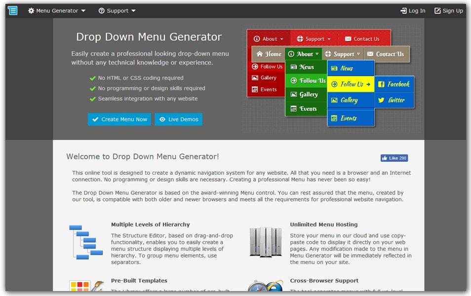 Drop Down Menus Online Generator