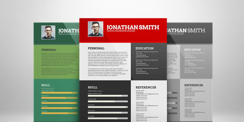 Flat Resume Template PSD