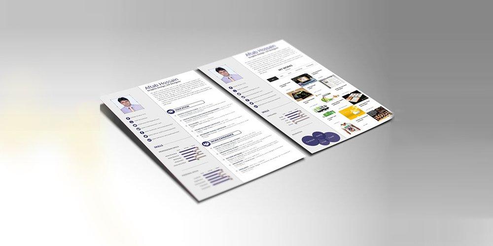 رایگان 2 صفحه ها رزومه قالب PSD