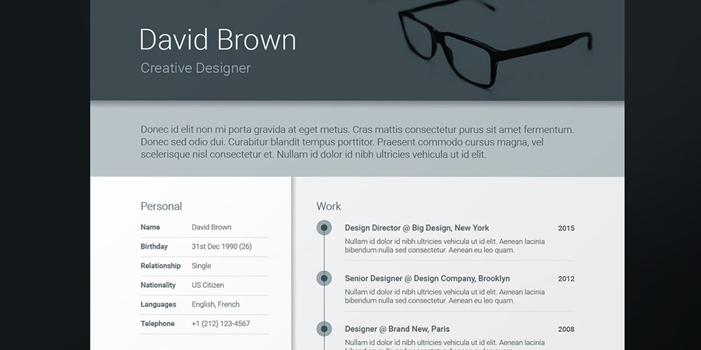 Free A4 Material Resume Template