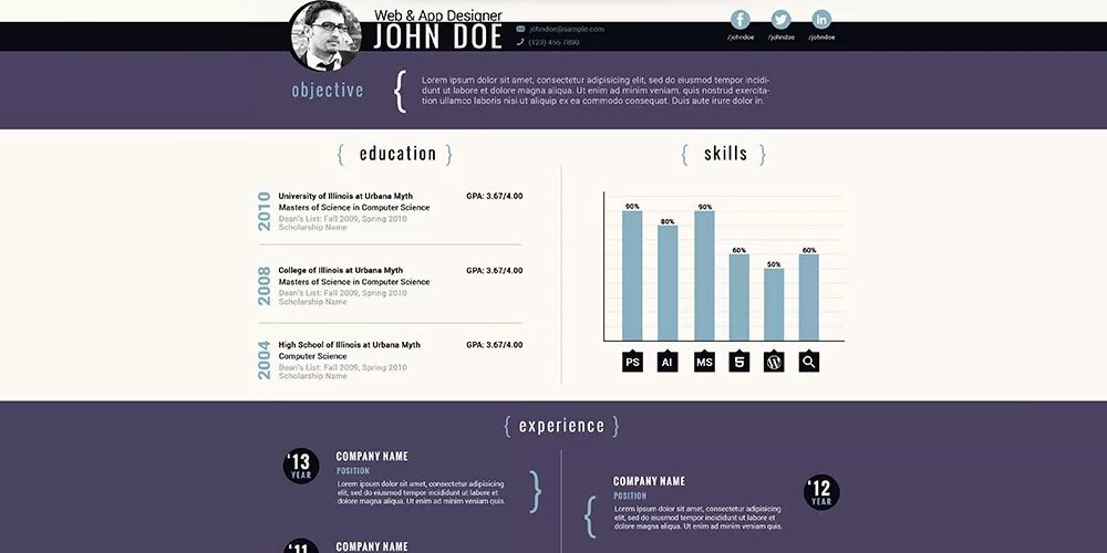 Free Corporate Resume PSD