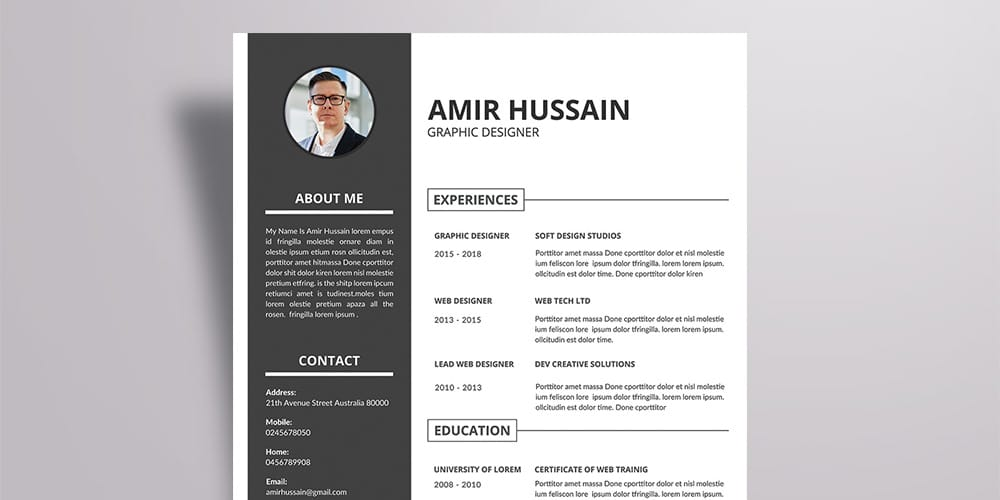 Free Corporate Resume Template Vector