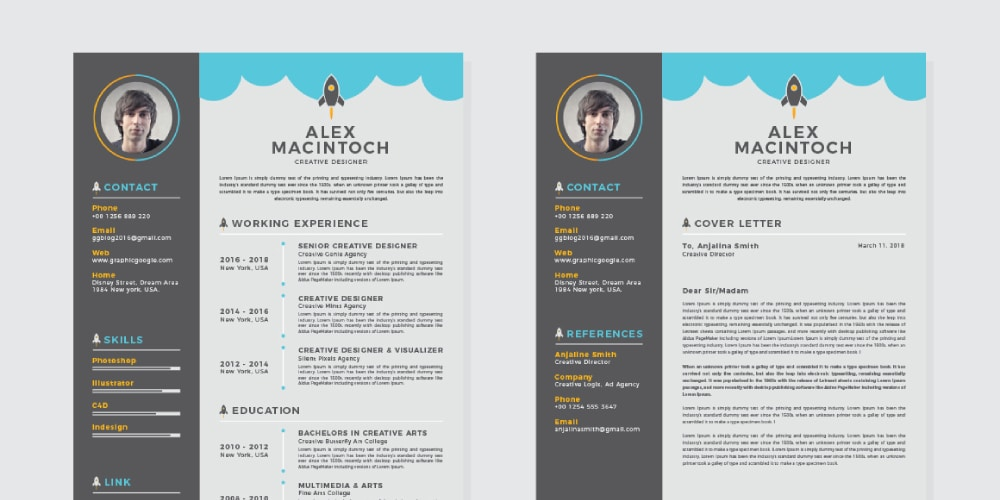 Free Creative CV Resume Design Template With Cover Letter  Free Resume Design Templates