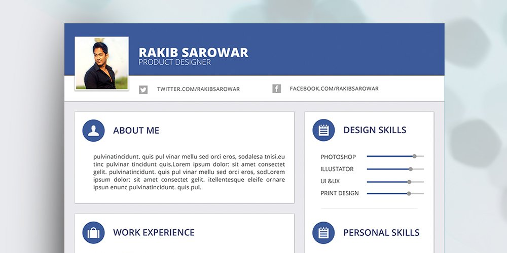 Free Material Style Resume Template PSD
