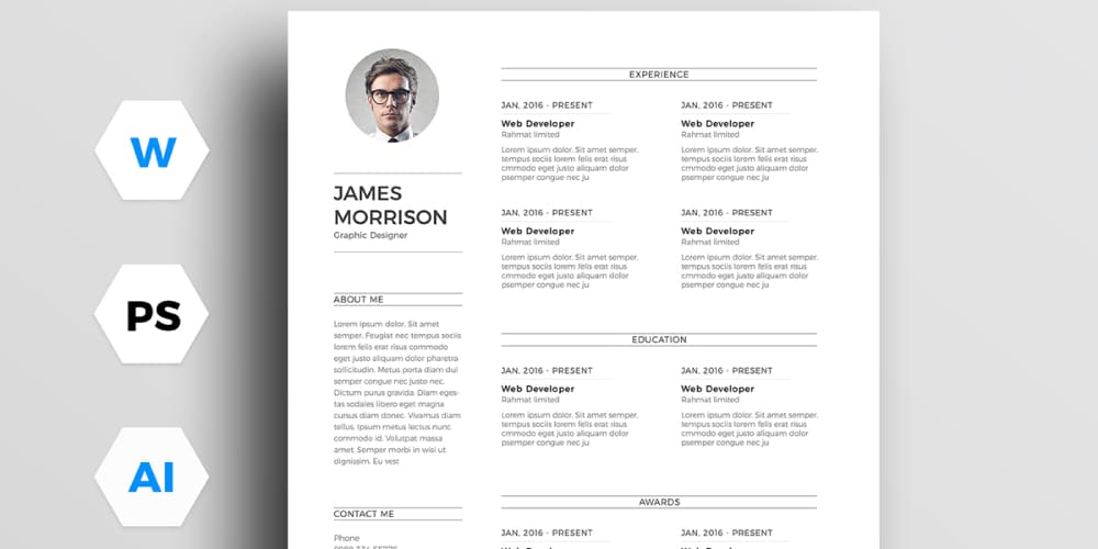 Ultimate collection of free resume templates css author free minimal resume template yelopaper Gallery
