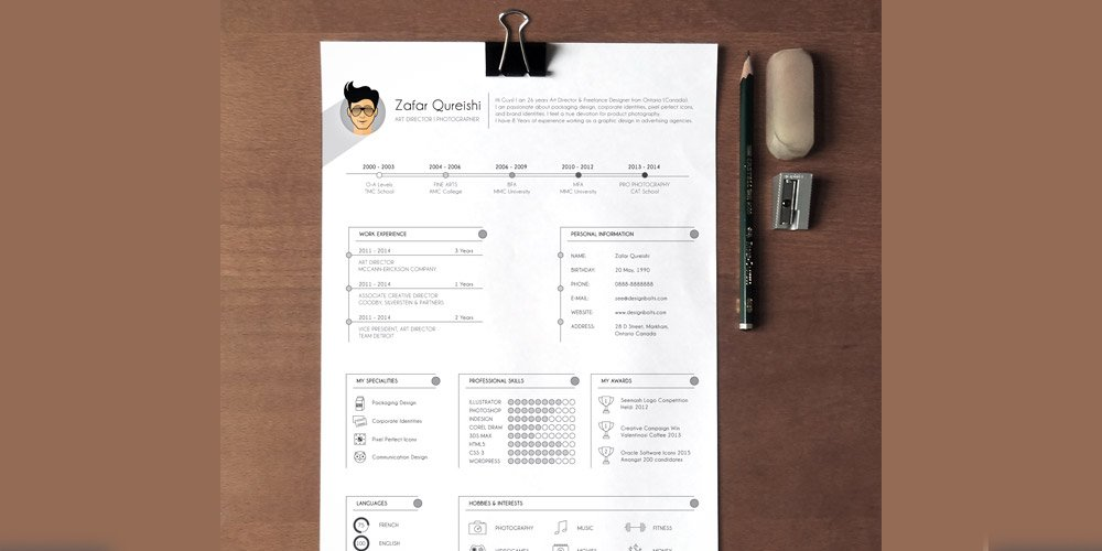 Free Professional Resume Template for Graphic Designers