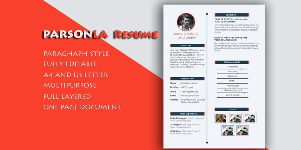 Ultimate collection of free resume templates css author free resumecv template psd yelopaper Gallery