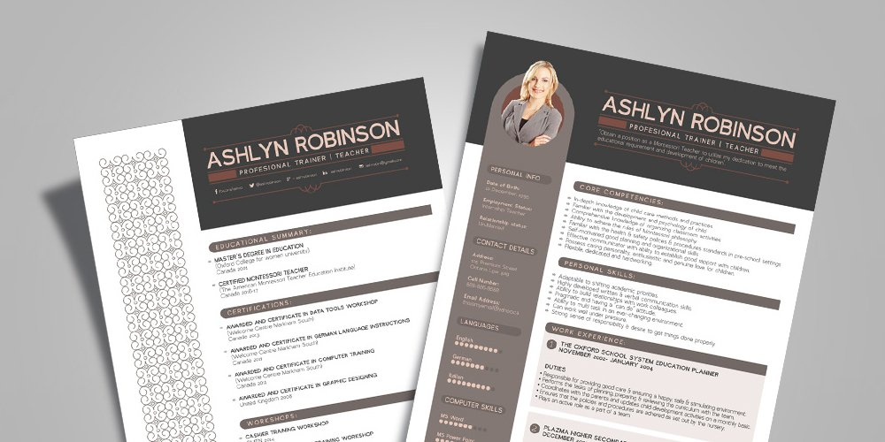 Free Resume Design Template for Trainers Teachers