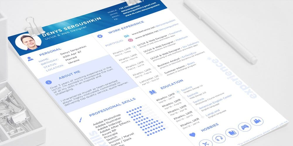 free resume template - Adobe Resume Template