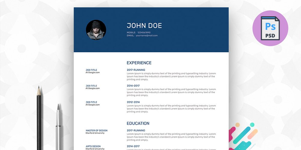 Free Resume Template PSD