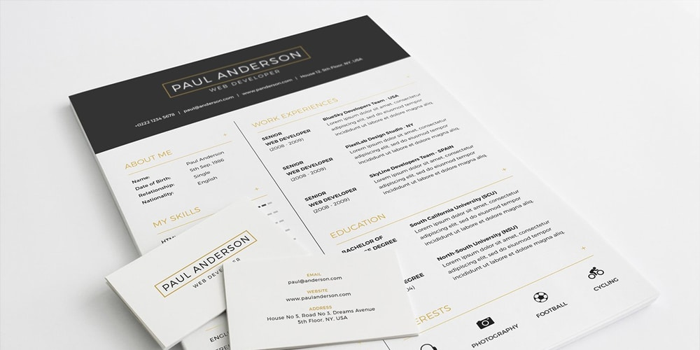 Free Resume Template With Business Card PSD