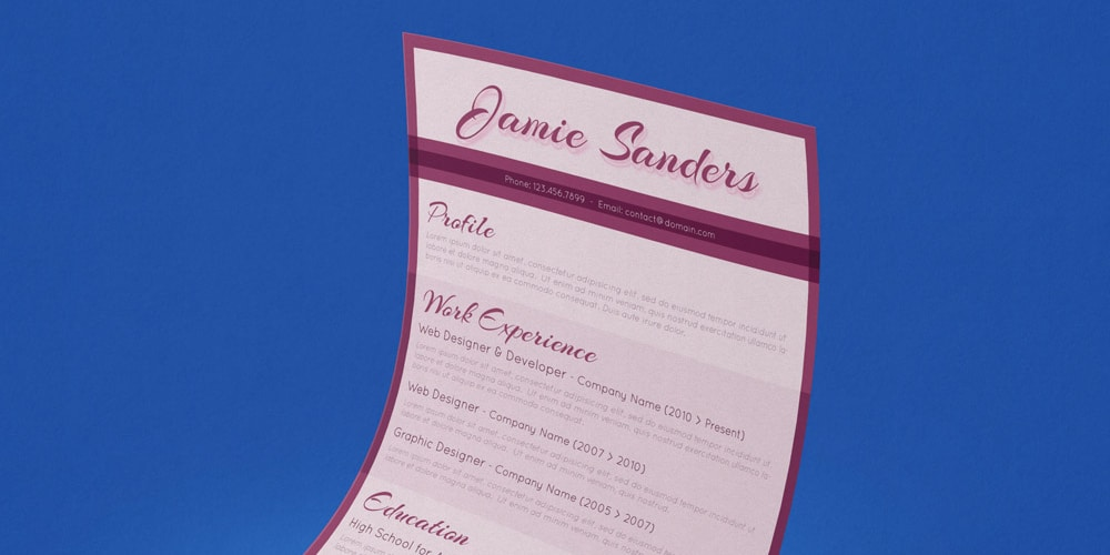 Free Retro Resume Template PSD