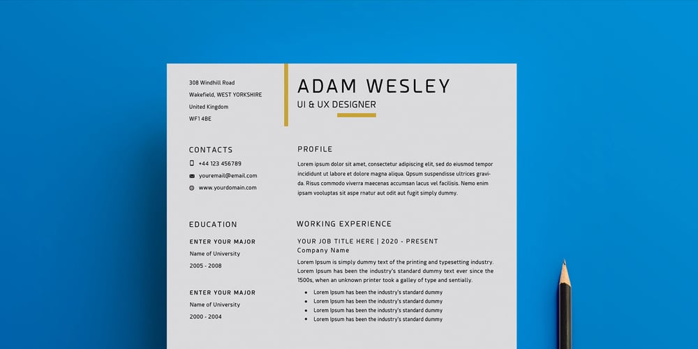 Free Simple Resume Template with Cover Letter + Business Card