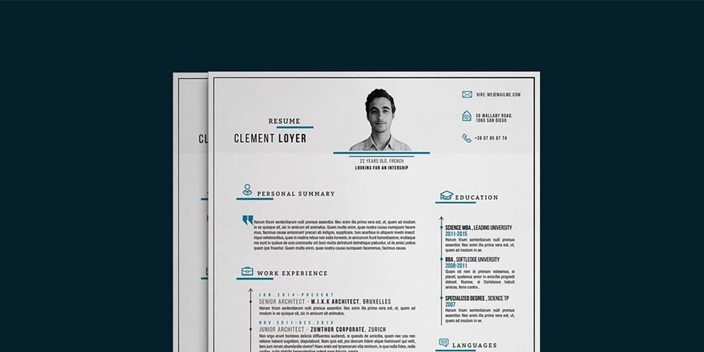 Graphic Blue Resume Template PSD