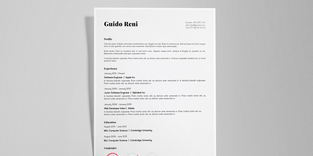 Guido Reni Creative Resume CV Template
