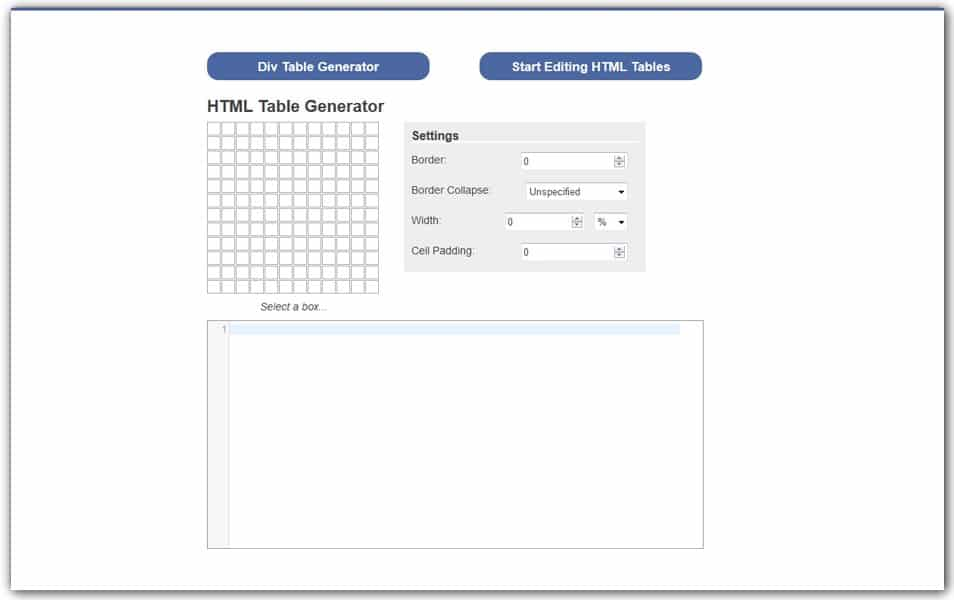 HTML Table Generator | HTML Cleaner