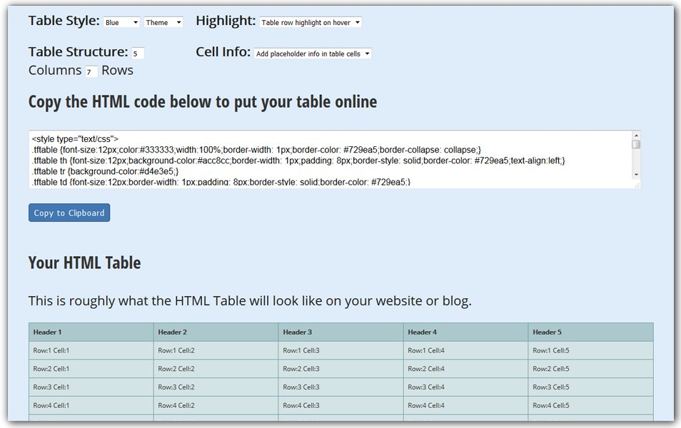 HTML Table Generator | TextFixer