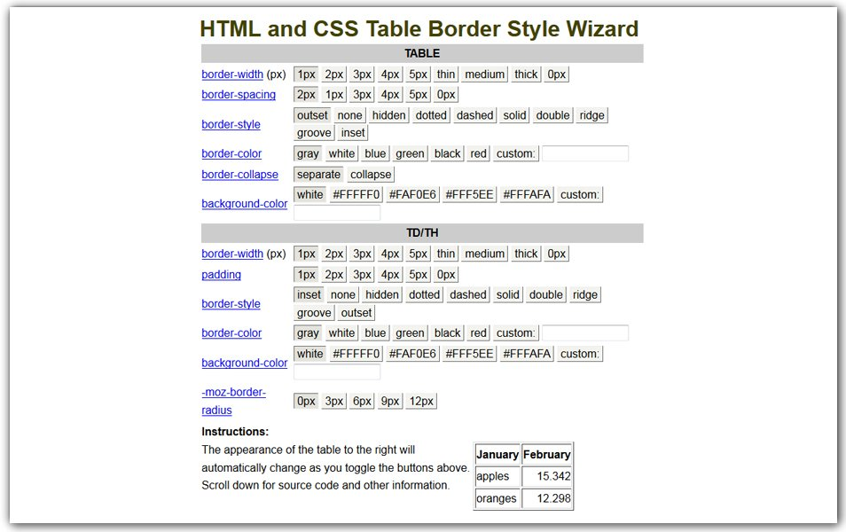 HTML and CSS Table Border Style Wizard