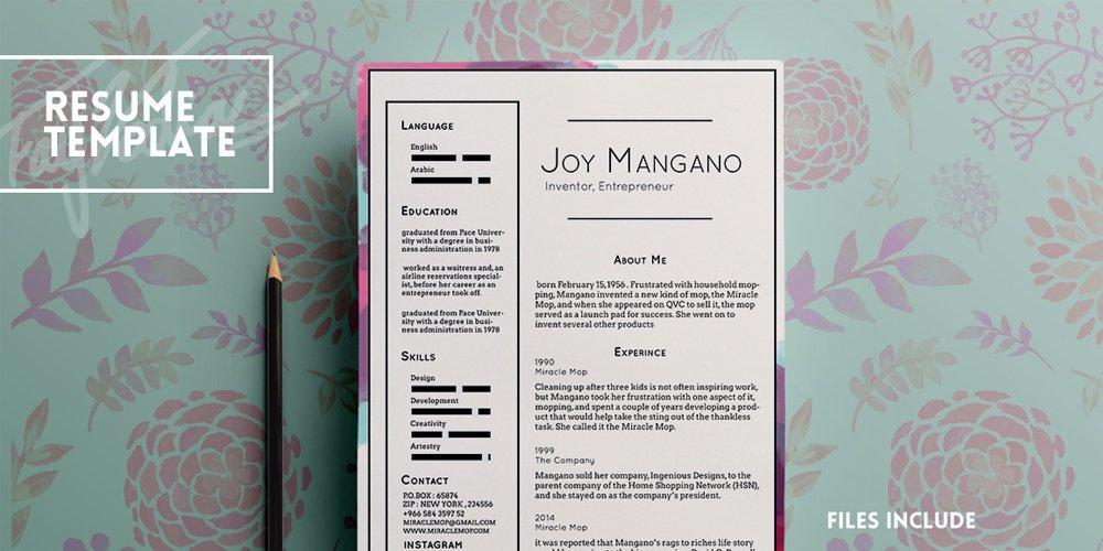 Joy Free Resume Template PSD