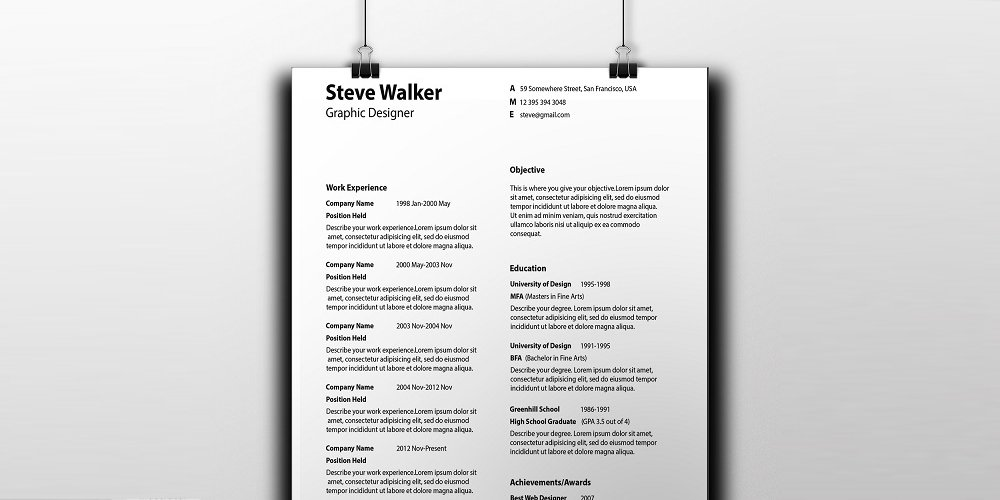 Light Minimal Resume Template PSD