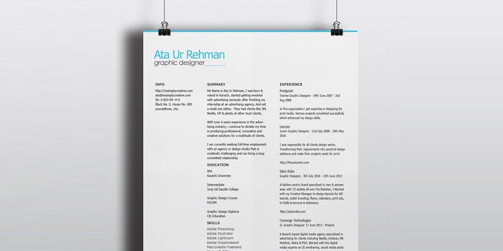 minimalistic resume template psd - Adobe Resume Template