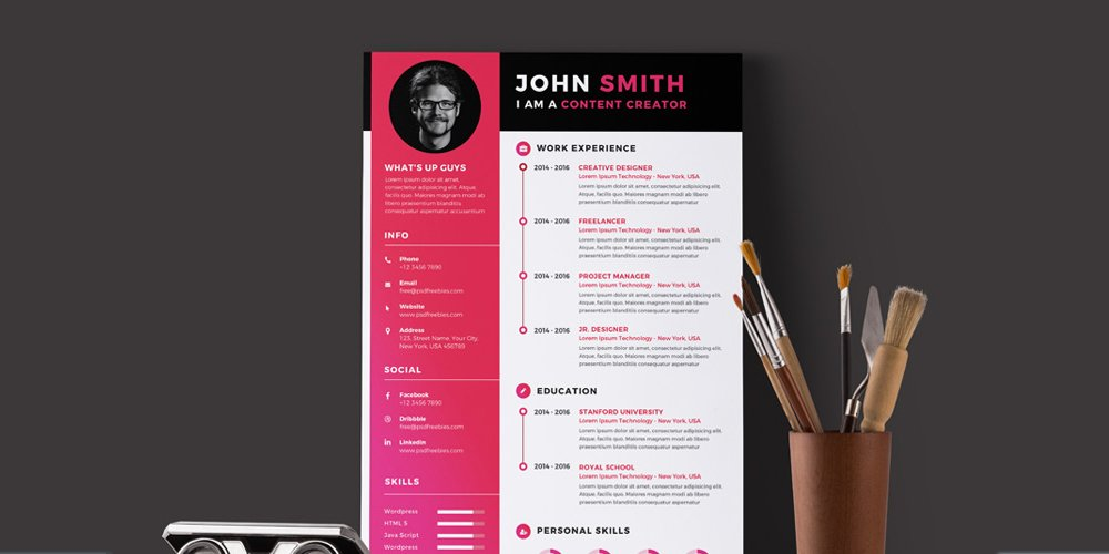 Ultimate collection of free resume templates css author modern resume cv template psd yelopaper Gallery