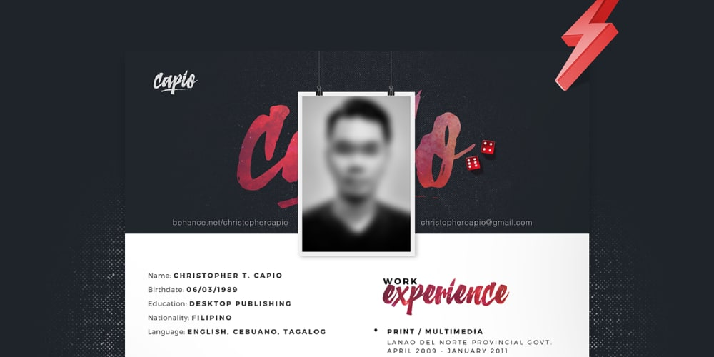 One Page Resume Template PSD