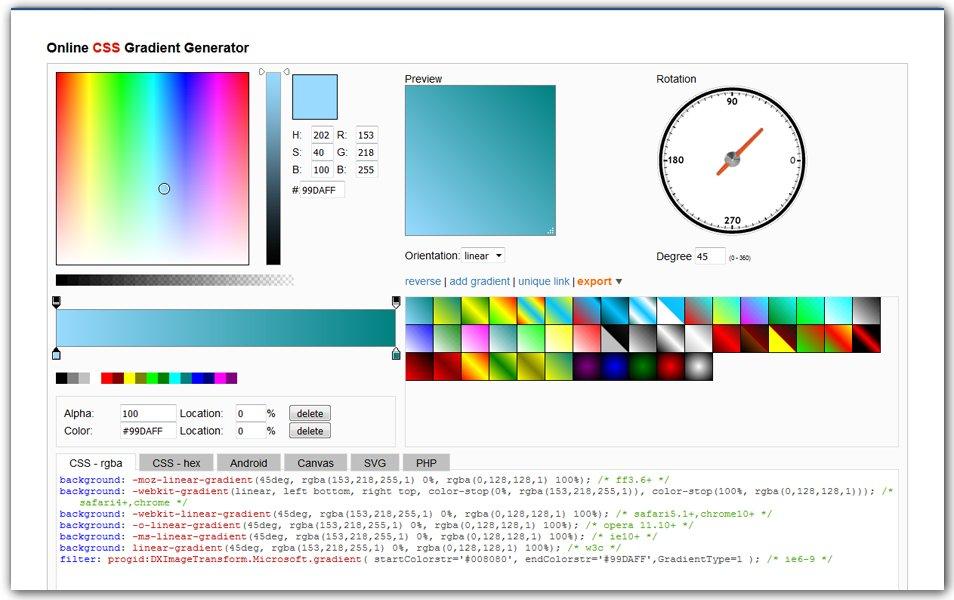Online CSS Gradient Generator | AngryTools