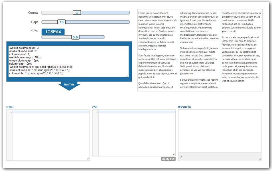 Online CSS Multi Column Generator