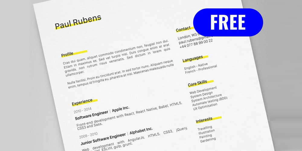Paul Rubens Resume CV Template