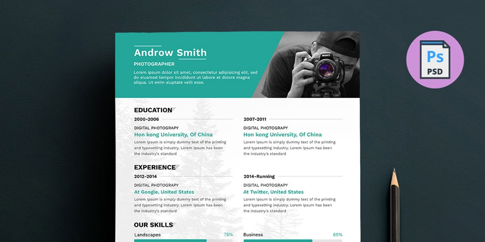 Photographer Resume Template PSD