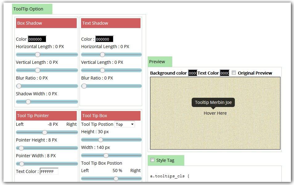 Pure CSS Tooltip Generator Online