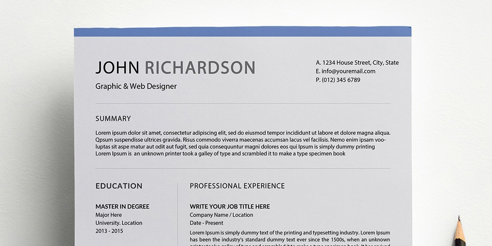 Simple CV Resume Template