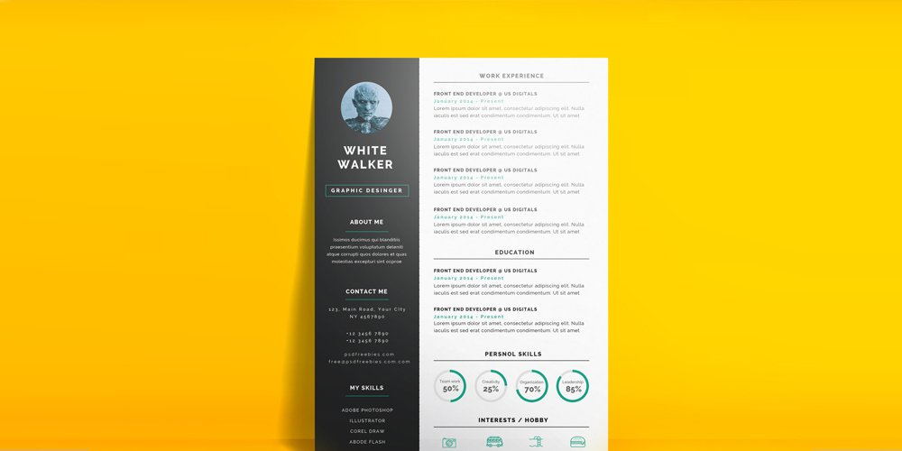 Simple and Clean Resume CV Template PSD