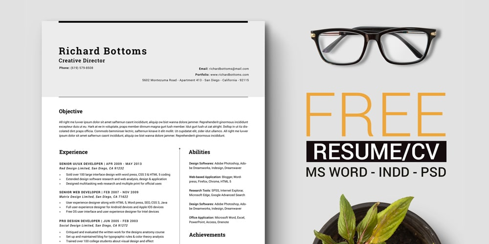 Timeless Resume CV with US Letter and A4