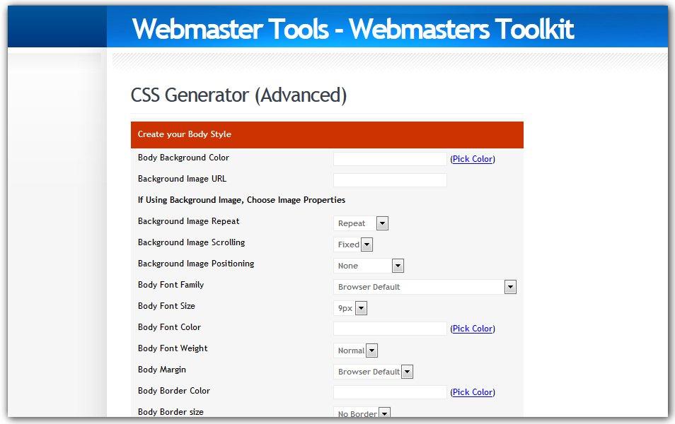 Webmaster Tools - CSS Generator