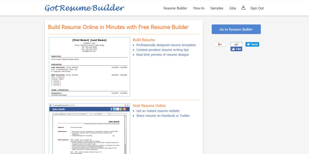 Got Resume Builder  Resume Builders