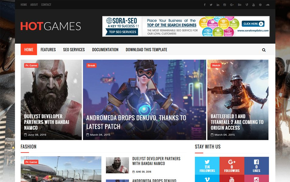 Game Hot Gaming Template Blogger Responsif