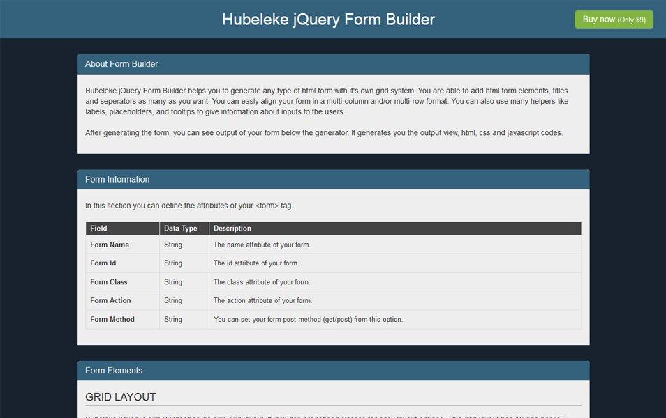 Hubeleke jQuery Form Builder