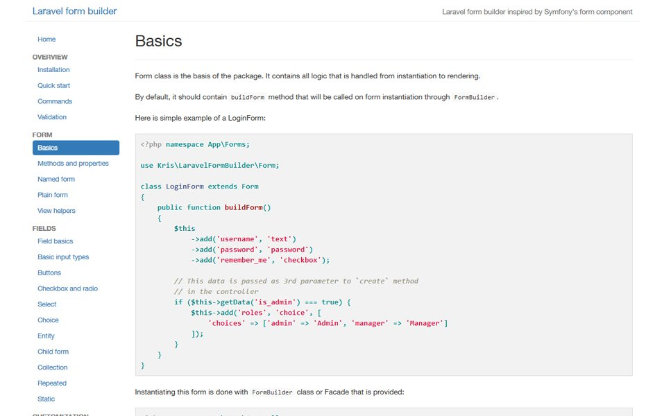 Laravel 5 Form Builder