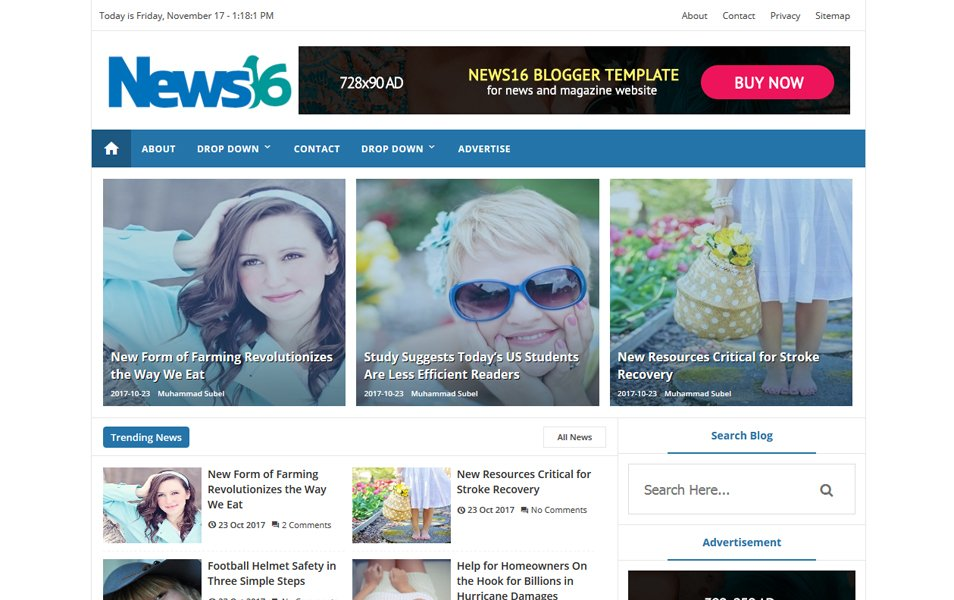 News16 Responsive Blogger Template