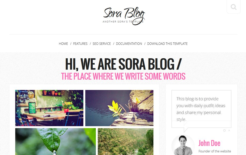 Sora Blog Responsive Blogger Template