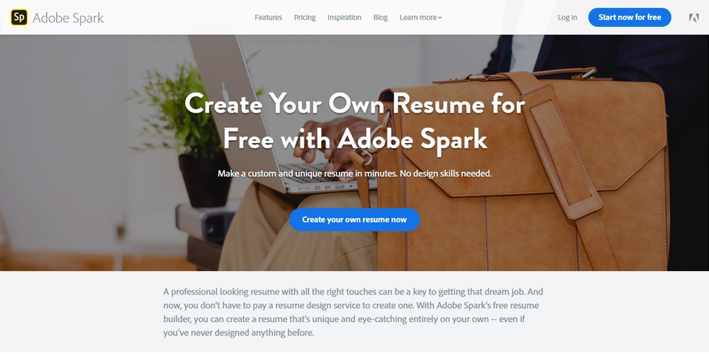 spark adobe resume builder