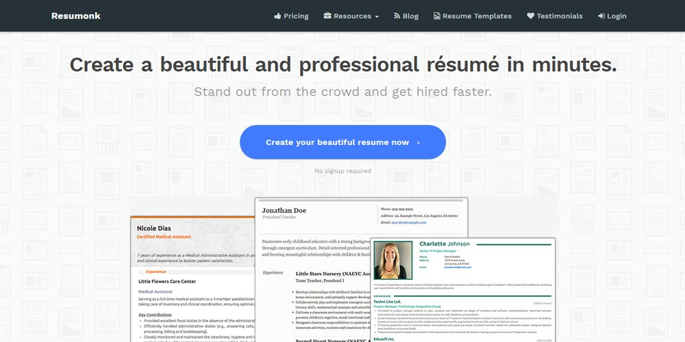 resumonk is an online resume builder that enables clients to make a wonderful and stand out resume in minutes download as pdf or docx - Online Resume