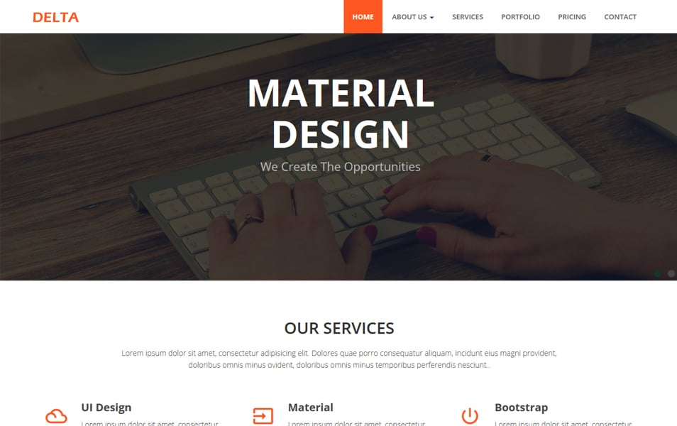 Delta Corporate Material Design Bootstrap HTML Template