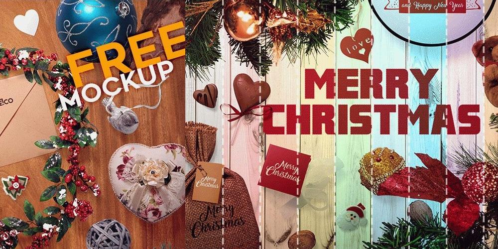 Free Christmas Scene Mockups PSD