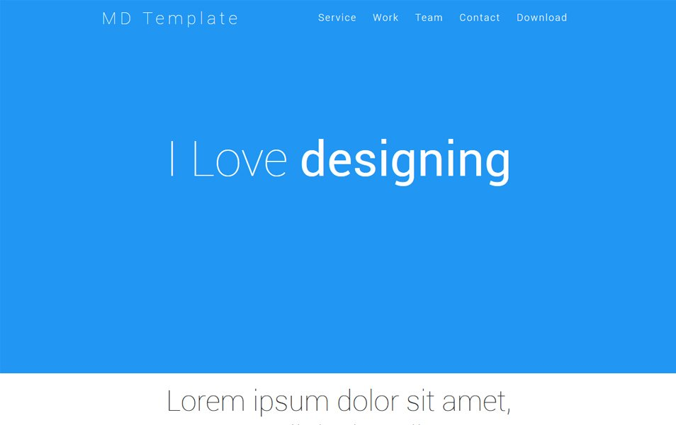 Material Design One Page HTML Template
