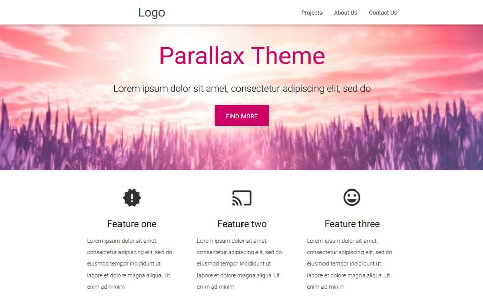 Material Parallax Template