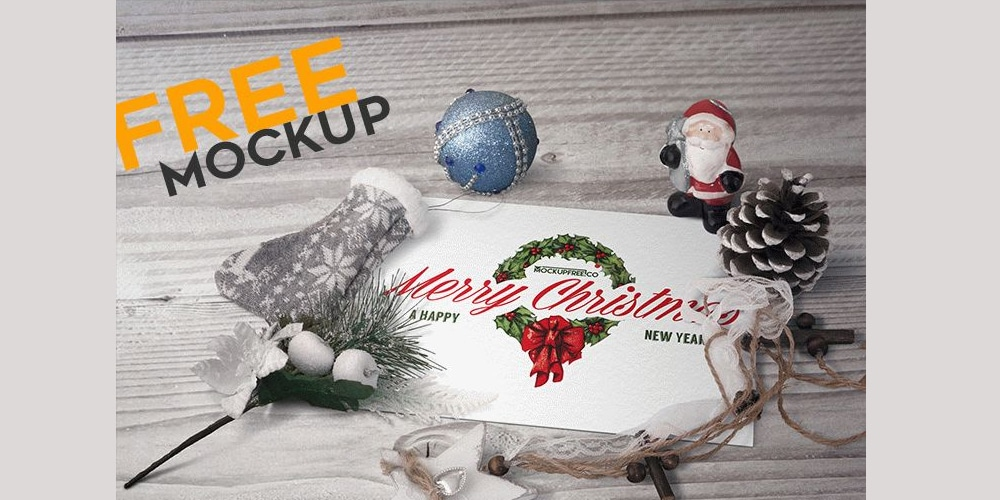 Postcard in Christmas Scenery Mockup PSD