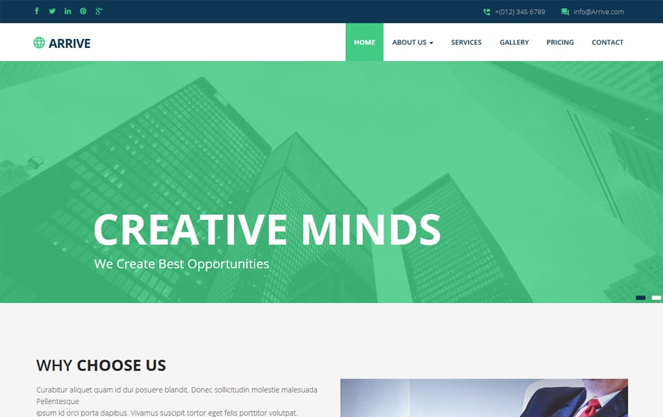 Arrive Business Responsive Website Template